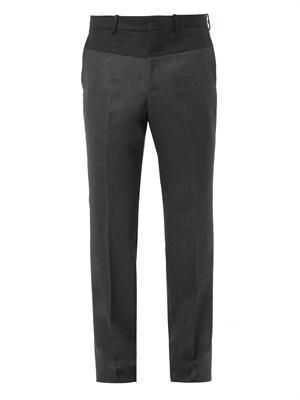 Colour-block wool trousers