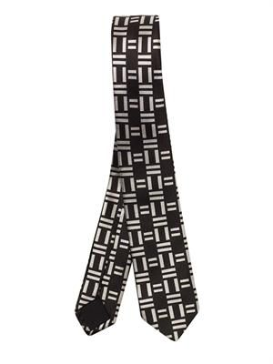 Graphic domino-jacquard silk tie