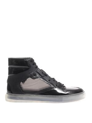 Window pane patent leather trainers