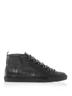 Arena high-top wrinkled-leather trainers