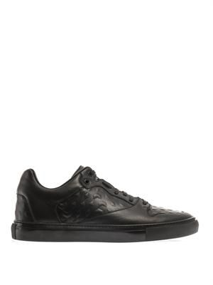 Embossed leather low-top trainers