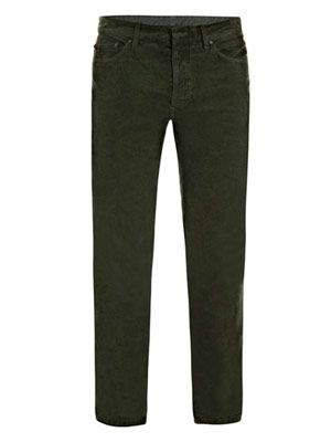 Stonewashed corduroy and denim trousers