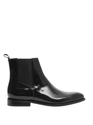 High-shine leather chelsea boots