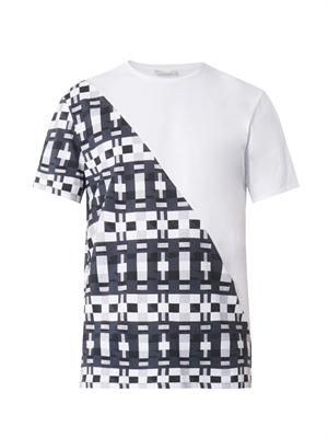 Split pattern-print T-shirt