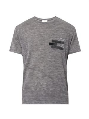 Domino-appliqué wool T-shirt
