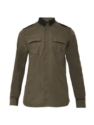 Satin-collar military shirt