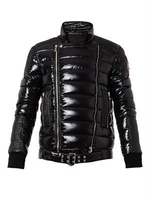 Quilted down biker jacket