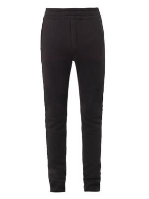 Biker cotton-jersey track pants