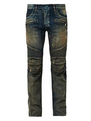 Distressed denim biker jeans