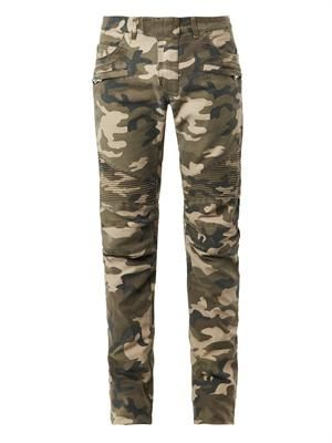 Camouflage-print biker jeans