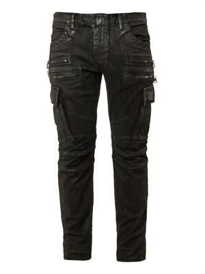 Multi-pocket distressed biker jeans