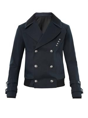 Military-button cotton pea coat