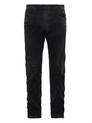 Wax-coated biker jeans