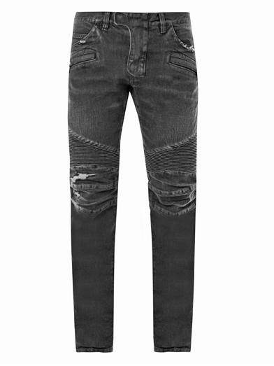 WISHLIST | Balmain Distressed biker straight-leg jeans