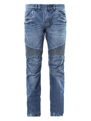 Washed-denim straight-leg biker jeans