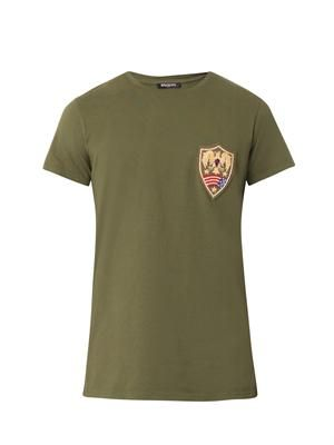 Distressed chest-badge T-shirt