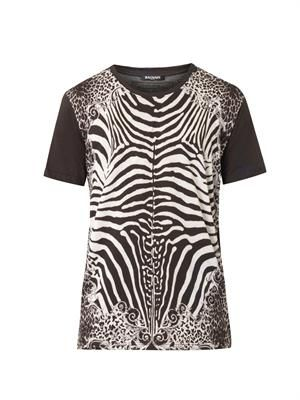 Animal-print cotton T-shirt