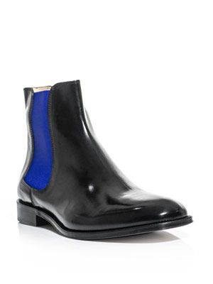 Neon and black leather Chelsea boots