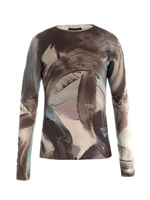 All over paint-print sweater
