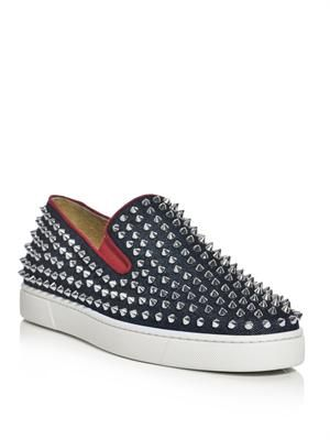 Spiked denim roller boat trainers
