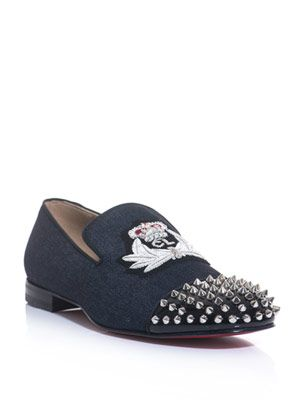 Haravanna denim studded loafers