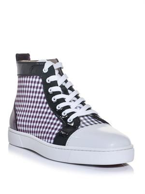 Louis patent leather and check high-top trainers