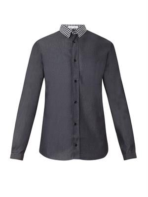 Contrast-collar denim shirt