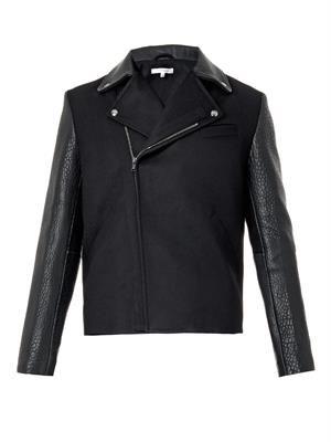 Leather and felt biker jacket