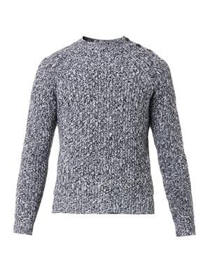 Herringbone-weave wool sweater