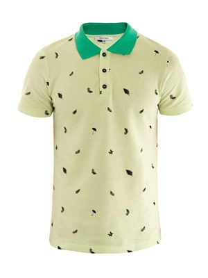 Leaf embroidered polo top