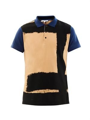Paint-print polo shirt