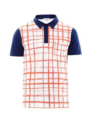 Check-print polo shirt
