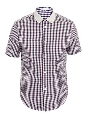 Contrast collar check-print shirt