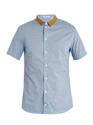 Contrast-collar check shirt