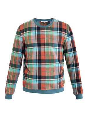 Madras check sweat top