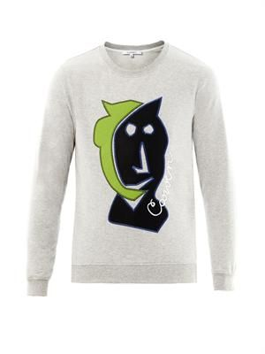 Appliqué-face cotton sweatshirt