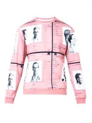 Mug-shot print sweatshirt