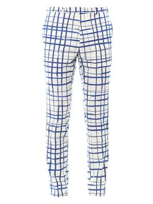 Check-print flat-front trousers