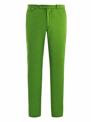 Frog-green chino trousers