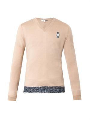 Man-badge V-neck sweater