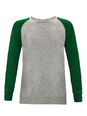 Contrast-sleeve cashmere sweater