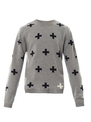 Cross intarsia-knit merino wool sweater