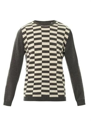 Chequered intarsia-knit cashmere sweater