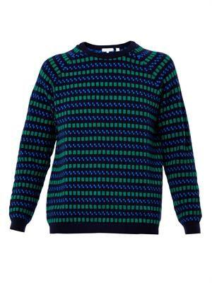Checkerboard-intarsia wool sweater