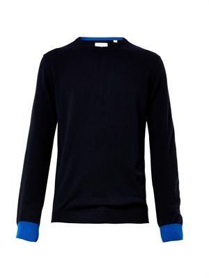 Contrast-cuffs cashmere sweater