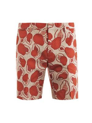 Papaya-print shorts