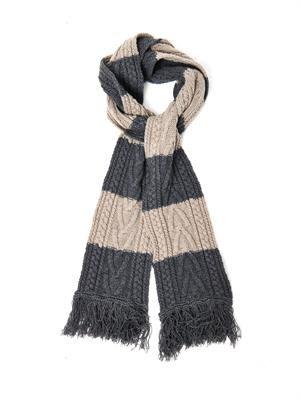 Bi-colour striped cable-knit scarf
