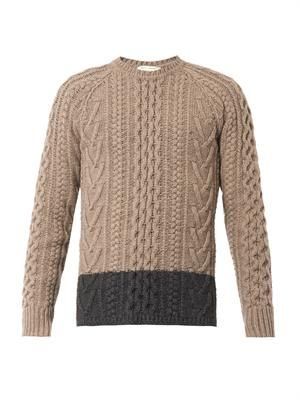 Bi-colour cable-knit wool sweater