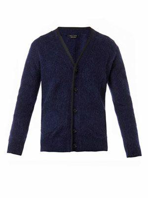 V-neck mohair-blend cardigan