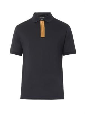 Cord bullion-trim polo shirt